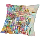 American Flat Chicago City Street Map Art Pause Pillow by Michael Tompsett, 18'' x 18''