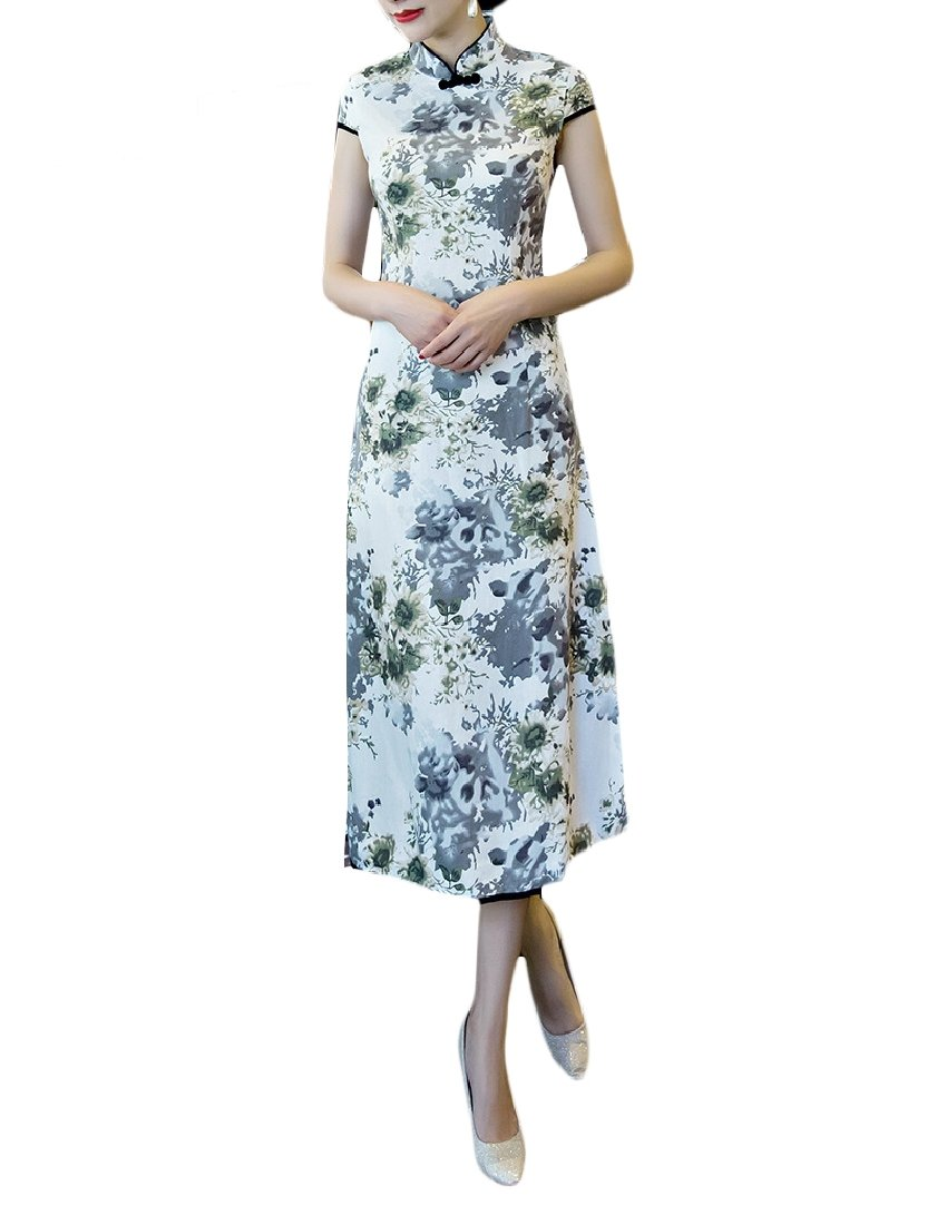 Highisa Womens Printing Long Cheongsam Qipao Everyday Evening Dresses Green L