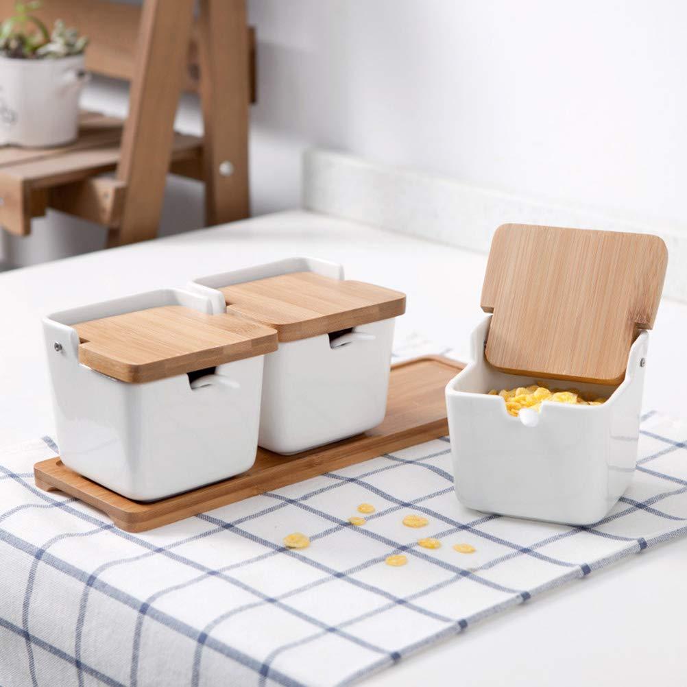 bianco BESTO nzon contenitore per spezie in ceramica quadrato Portaspezie porta spezie Con Coperchio di bamb/ù cucchiaio