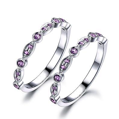 Purple Amethyst Wedding Ring Set 925 Sterling Silver White Gold Half