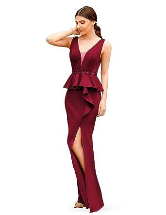 Ever Pretty Womens Elegant Vneck Burgundy Fishtail Evening Dresses 8UK Burgundy
