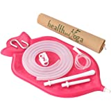 The HealthAndYoga(TM) Enema Bag Kit - Open fountain top (2 quart) | Silicone Tubing AND Strong Metal Suspension | Hygienic Sterile Enema Sheet | Privacy Carry & Storage Bag