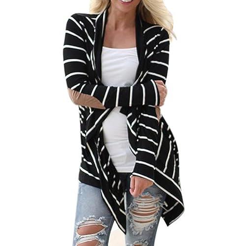 SKY Mujeres Rayas en blanco y negro en la sección larga de chaqueta Casual Long Sleeve Striped Cardi...