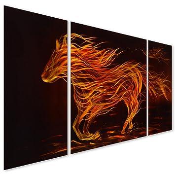 Horse Metal Wall Art Decor Modern Fire Stallion Abstract Decorative Sculpture Set Of 3 Panels