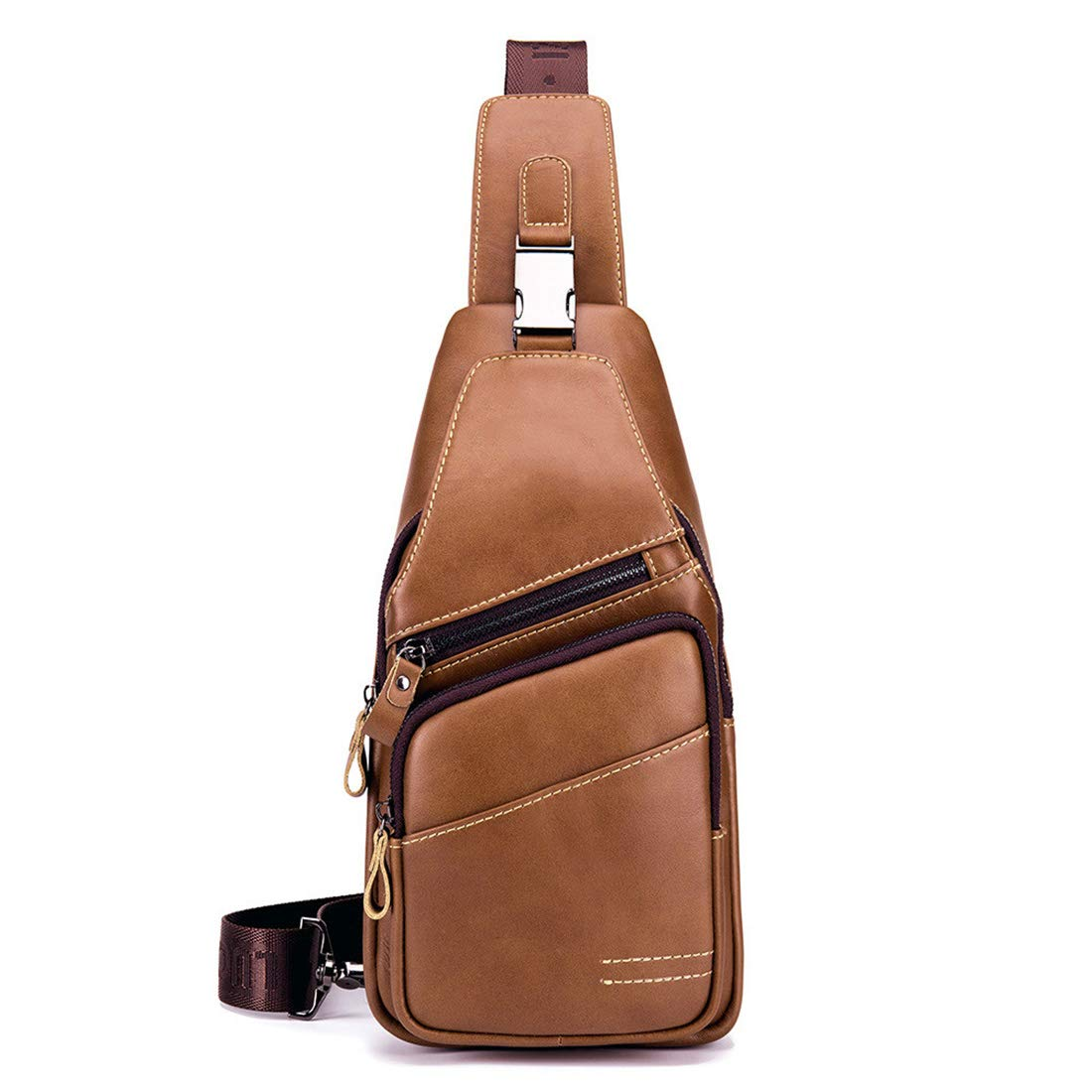 Mens Sling Pack Chest Bag Genuine Cow Leather Crossbody Shoulder Bag Men Cowhide Messenger Bag Zipper Casual,Black,16cm X8cm X32cm