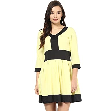 Abiti Bella Women s Yellow and Black Polyester Skater Dress  Amazon.in   Clothing   Accessories 5c29789d45