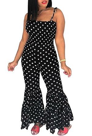 8c892335866b Amazon.com  Remelon Womens Sleeveless Polka Dot Print Bodycon Wide Leg  Ruffle Bell Pants Jumpsuits Rompers  Clothing