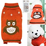 Cheap Bolbove Pet Cute Owl Cable Knit Turtleneck Sweater for Small Dogs & Cats Holiday Knitwear Cold Weather Outfit (X-Small, Orange)