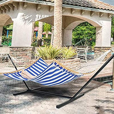 Amazon Com Patio Watcher 12 Feet Steel Stand With Quick Dry Hammock Curved Bamboo Spreader Bar Hammock For Outdoor Patio Yard 2 Storage Bags Included Garden Outdoor