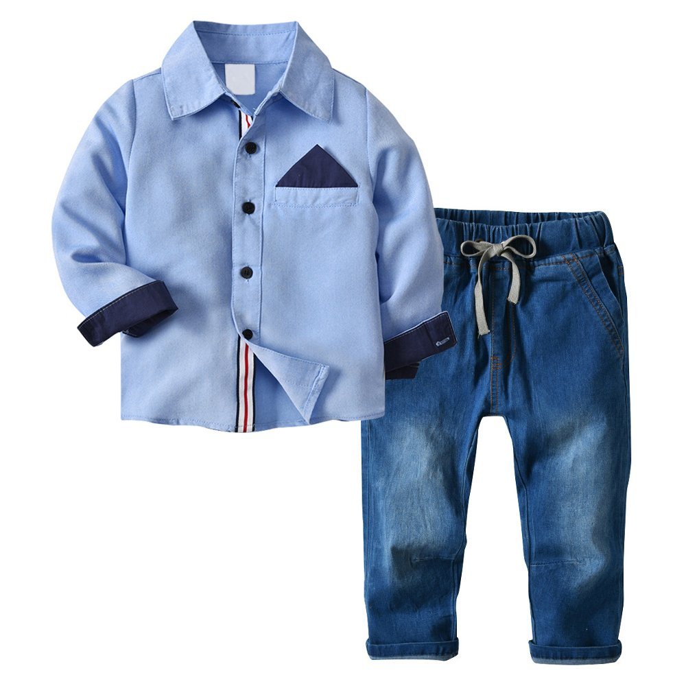 Little Boys' 2 Piece Long Sleeve Shirt and Denim Pants Jeans Set (6T, Sky Blue)