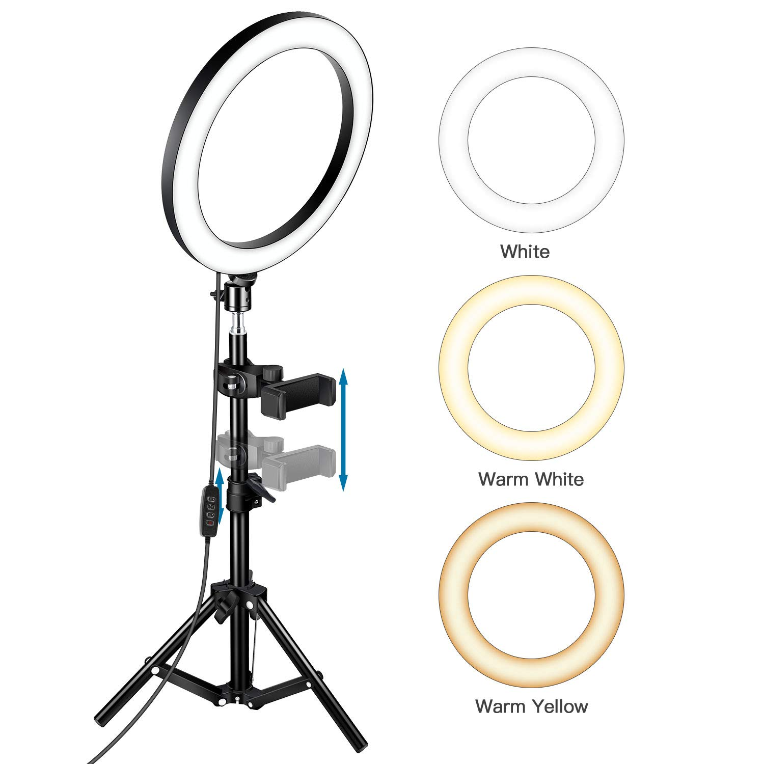 TaoTens 10'' LED Ring Light with Tripod Stand & Cell Phone Holder for Live Stream/Makeup,Mini Led Camera Ringlight for YouTube Vlog/Video/Photography Compatible with iPhone Xs Max XR Android