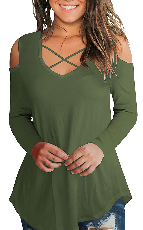 0050a52356e Front Criss cross design, Criss Cross Cold should design tunic sweatshirt.  Women\'s casual tunic top criss cross front V-neck cold shoulder long sleeve  ...