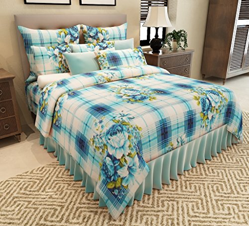 Home Candy Geometric Premium Cotton Double Bedsheet with 2 Pillow Covers – Blue