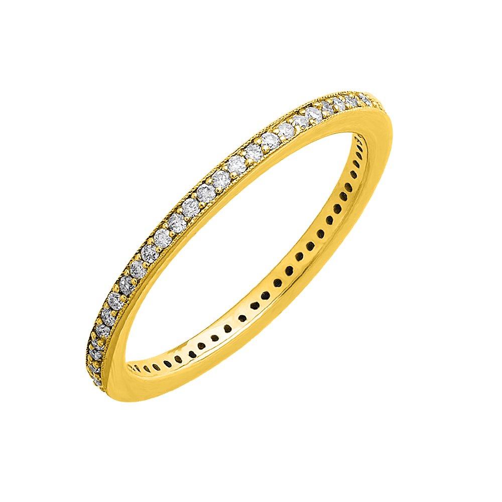 IGI Certified 10k Yellow Gold Diamond Pave Set Eternity Band Ring (0.21 Carat)
