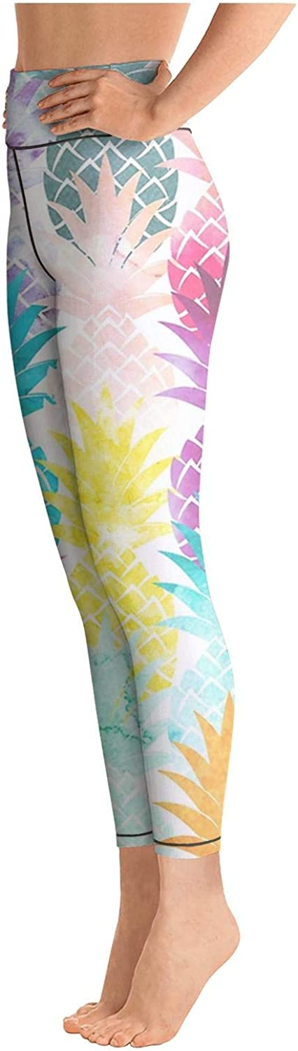 chchht Womens Yoga Pants Legging Sports Hawaiian Pineapple Pattern Tropical Watercolor Funky for Workout Riding Running