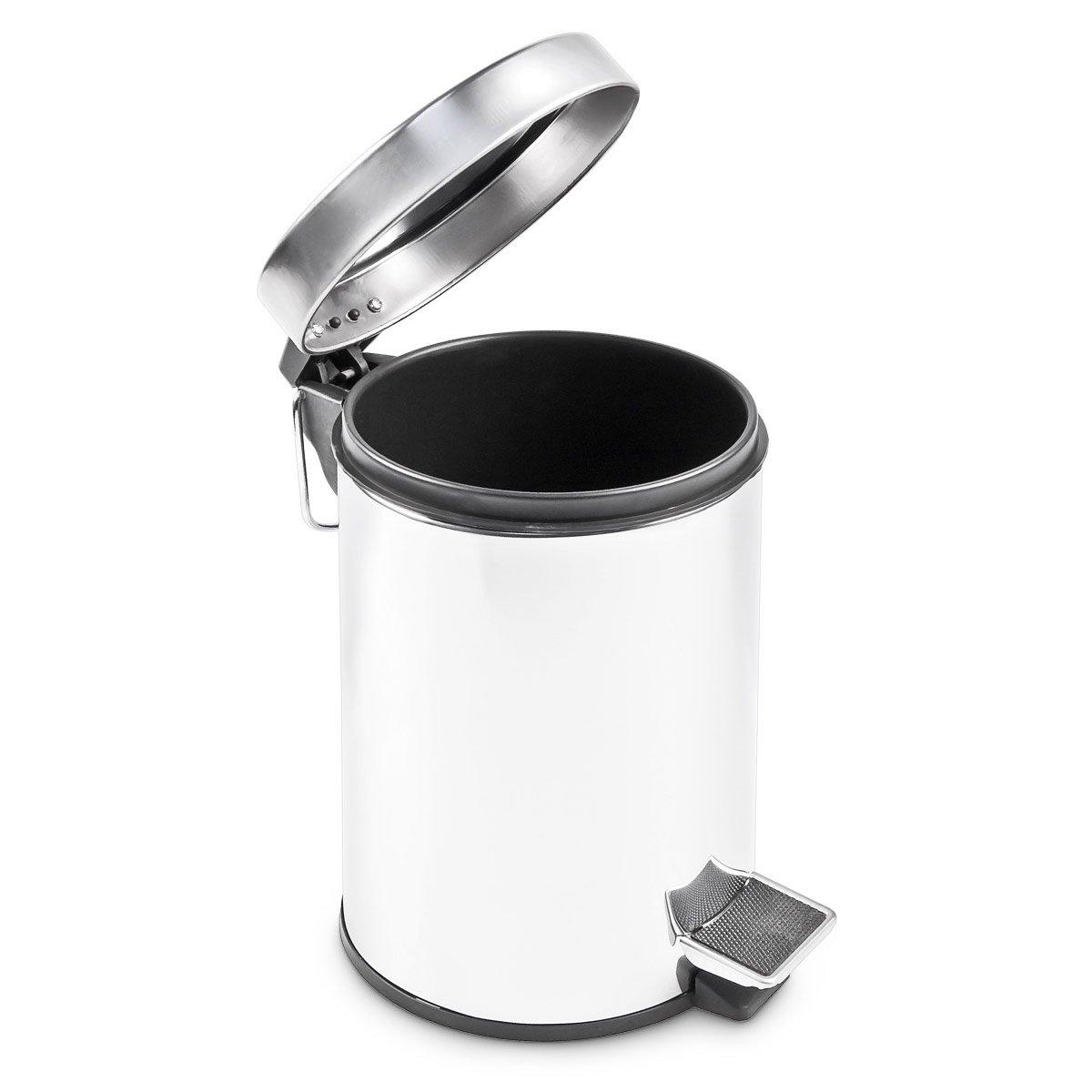 gris argent/é Relaxdays Poubelle en inox ronde /à p/édale 5 litres vide-ordures Seau plastique amovible poign/ée transport H x D 27 x 20,5 cm acier inoxydable optique m/étal cuisine salle de bain