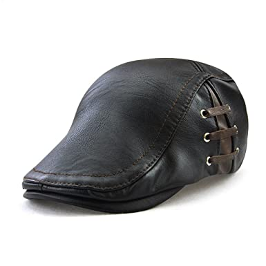 b4add98b4c3 Sunbo Flat Cap Cabby Hat Leather Vintage Newsboy Cap Ivy Driving Cap Black   Amazon.co.uk  Clothing