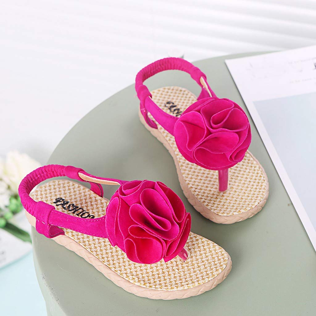 RAINED-Baby Girls Flower Beach Priness Shoes Roma Sandals Flower T-Straps Flip Flops Beach Sandals Flat Shoes
