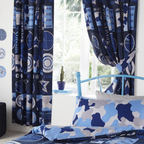 ARMY CAMOUFLAGE KIDS BOYS LUXURY FULLY LINED BEDROOM CURTAINS SET ...