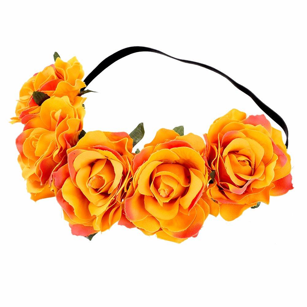 Mism Big Flower Headband Fabric Hawaiian Rose Hair Crown Wreath For