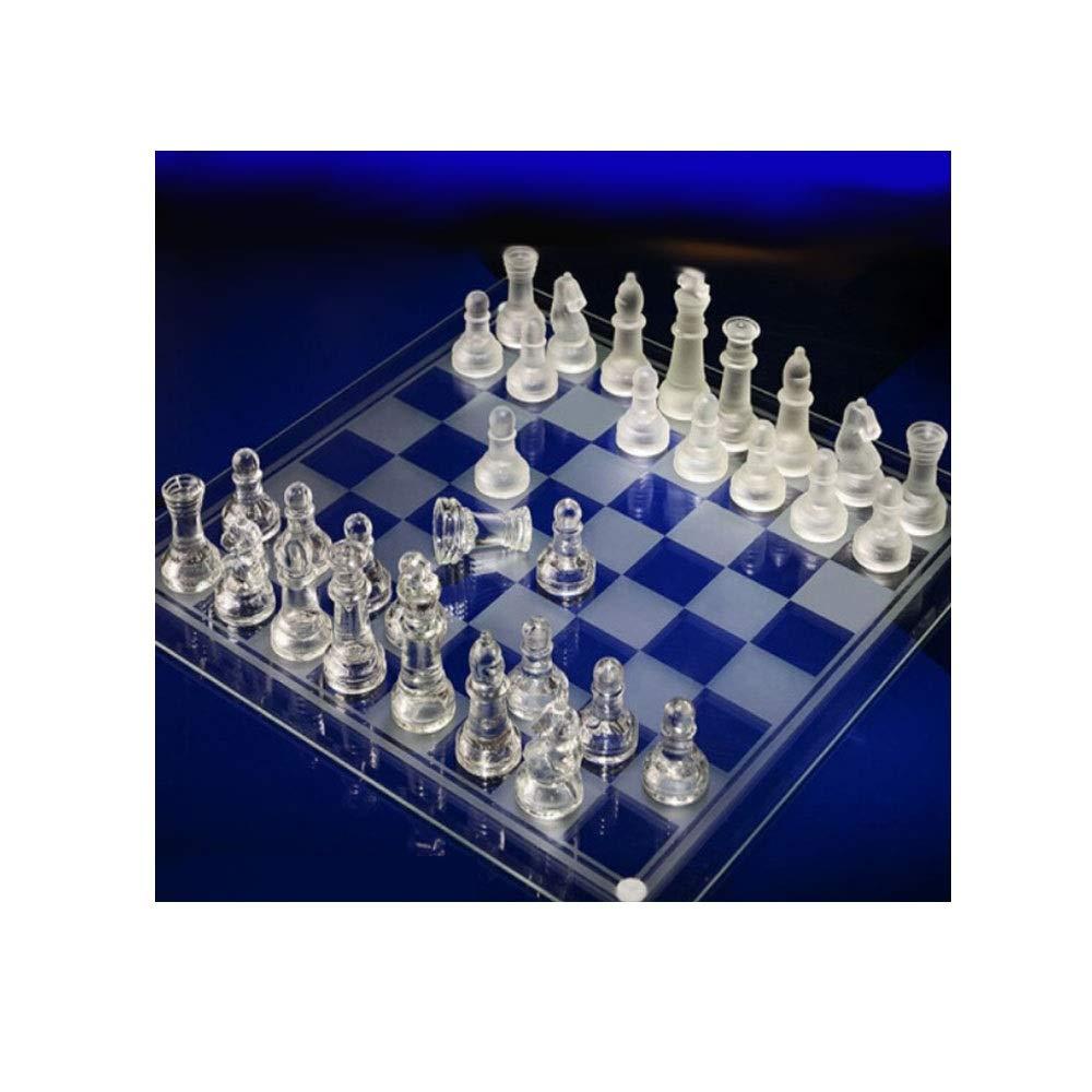 Clear Medium Qiyuezhuangshi Internationales Schach, Klarer Kristall Einfache Mode Student Schachspiel, Tragbare Student Anfänger Erwachsene Schach (Klar, 20  20  3 cm) (Farbe   Clear, Größe   Medium)