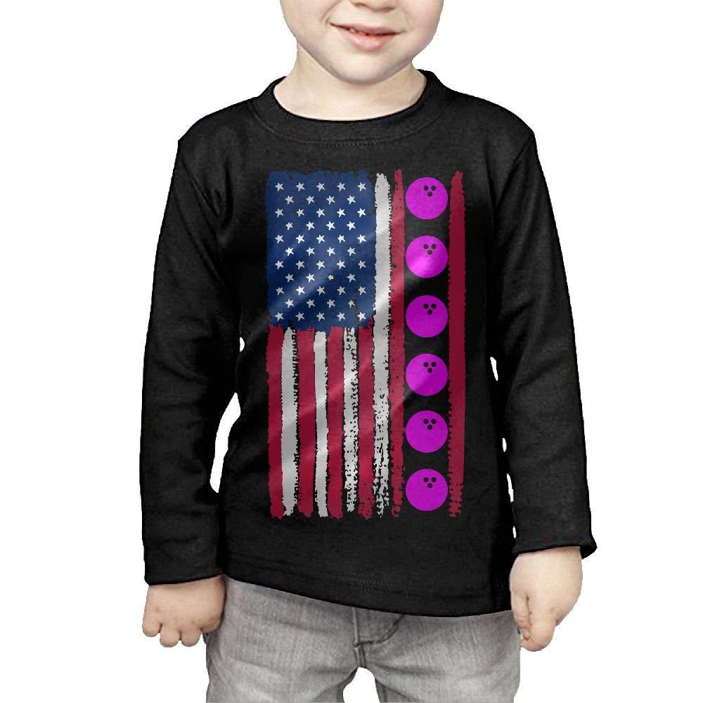 CERTONGCXTS Childrens USA Flag Bowling Ball1 ComfortSoft Long Sleeve Shirt