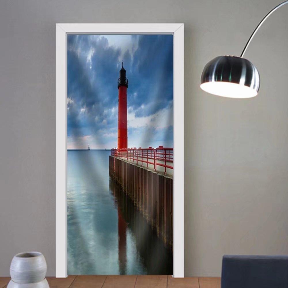 Niasjnfu Chen custom made 3d door stickers Milwaukee Lighthouse. Image of the Milwaukee Lighthouse at Sunrise. Fabric Home Decor For Room Decor 30x79