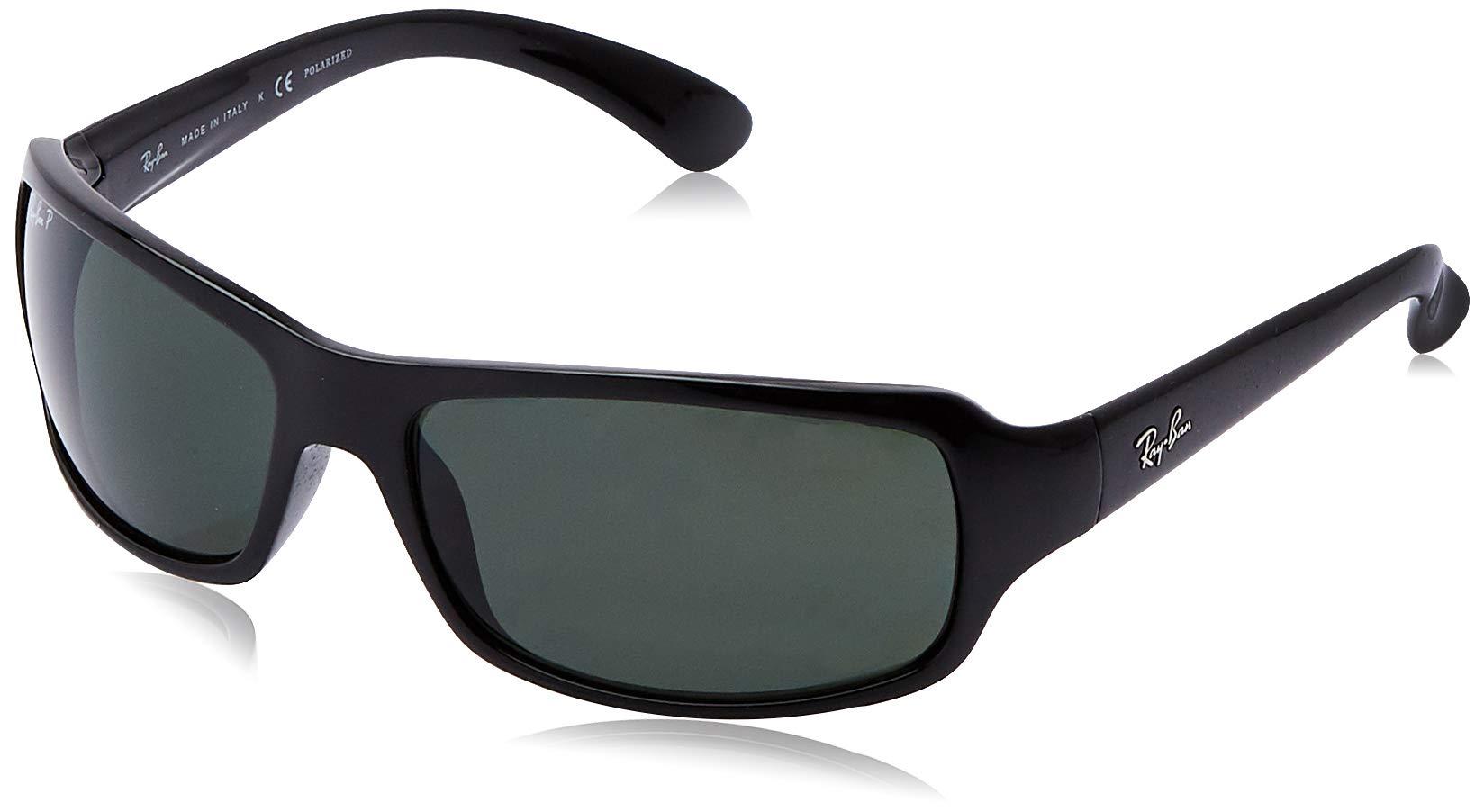 RAY-BAN RB4075 Rectangular Sunglasses, Black/Polarized Green, 61 mm by RAY-BAN