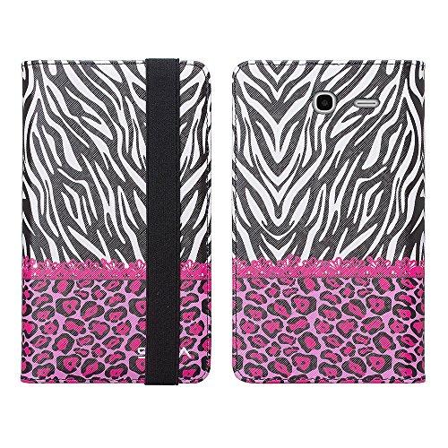 Alcatel Pop 7 LTE Case, Alcatel One Touch Pop 7 LTE Wallet Case, SOGA [Pocketbook Series] PU Leather Magnetic Flip Design Wallet Case for Alcatel One Touch Pop 7 LTE - Pink Leopard Zebra (Alcatel One Touch Pop Zebra Case)