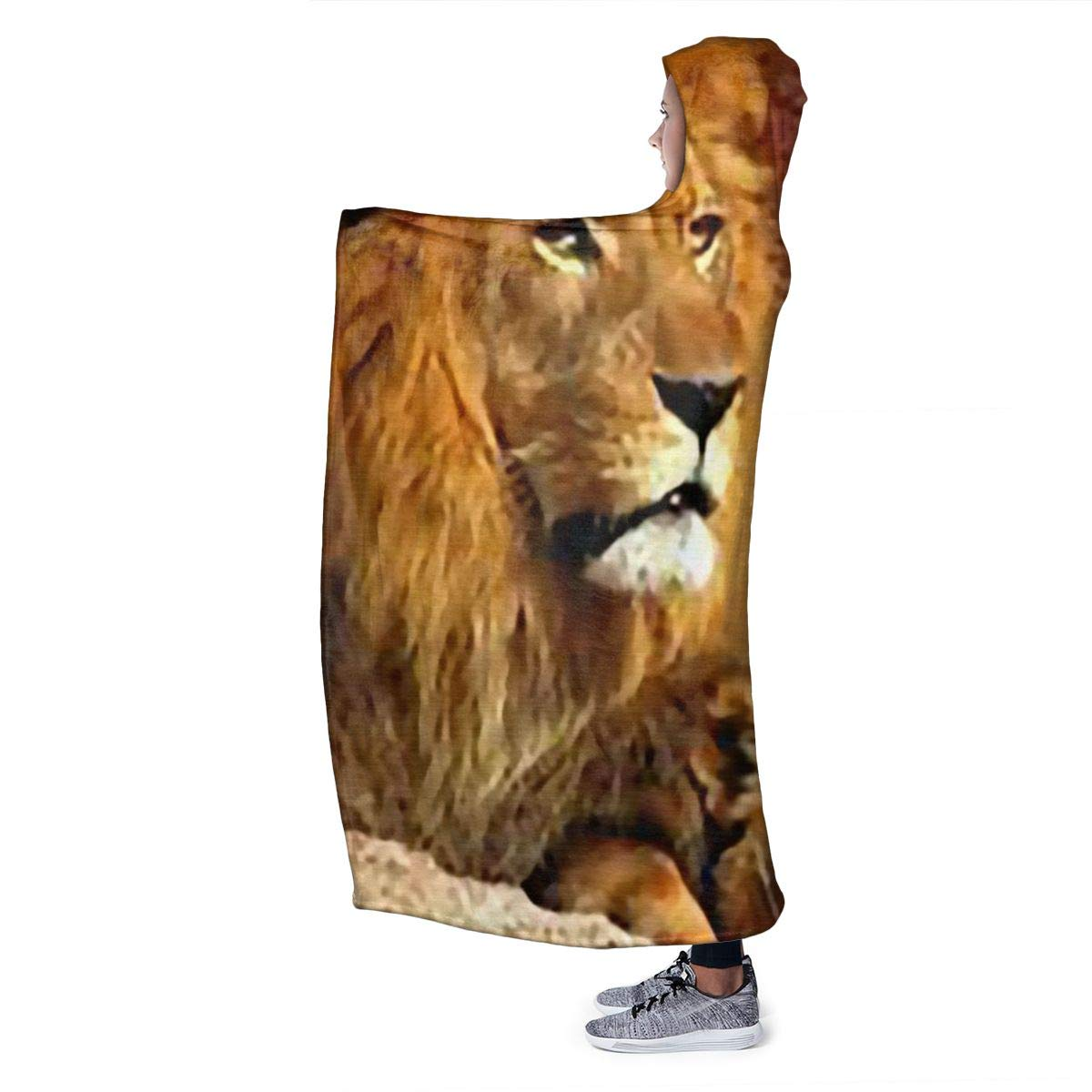 STWINW African Savannah Lion Womens Hooded Blanket Super Soft Flannel Blanket Hoodie Wearable Blanket50 x 40 Hooded Robe Hooded Cloak for Sofa Couch Office Living Room