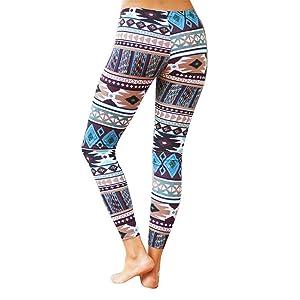 HANYI Fashion Women Skinny Tribal Geometric Printed Stretchy Pants Leggings (XL, Blue)