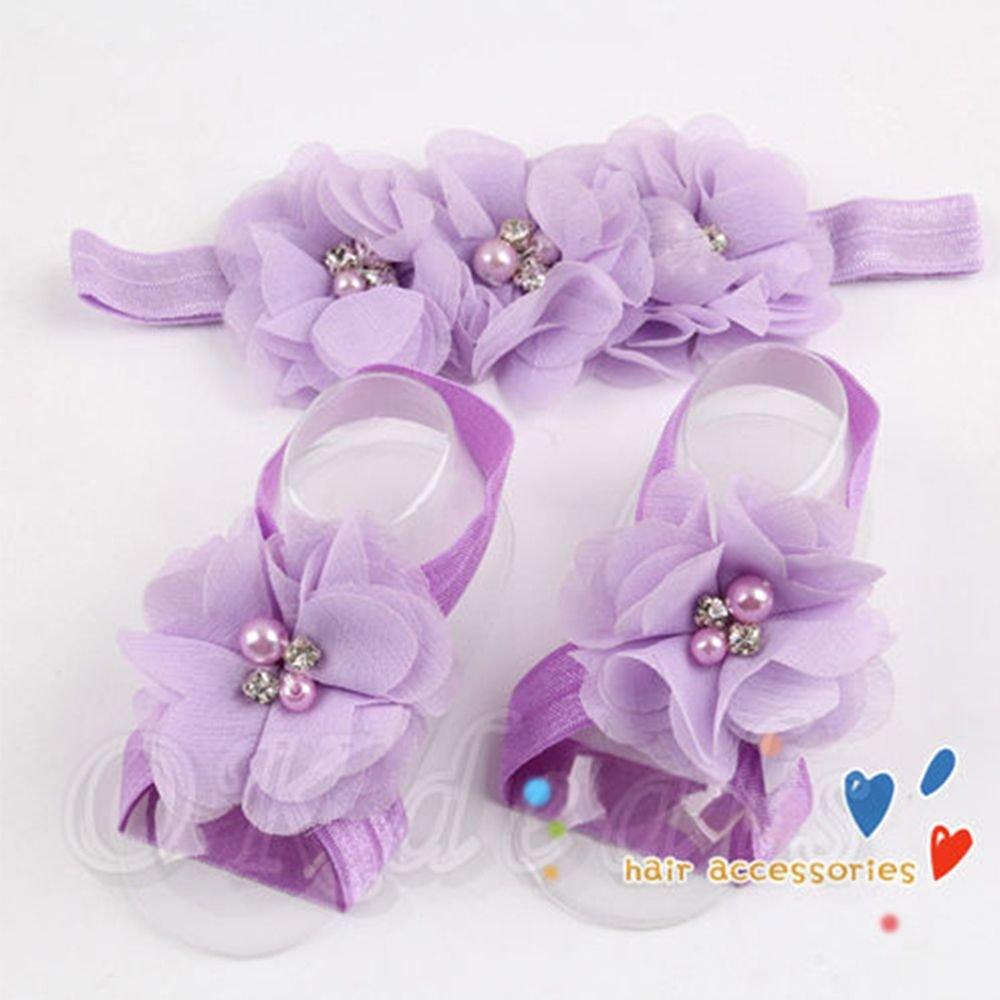 e3401c1ad8c0b7 Amazon.com  Floweryua Kids New Baby Infants Cute Accessories Sock Headband+ Flower Barefoot Sandals Toe Blooms Hairband Girl  Baby