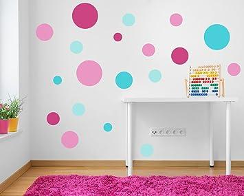 Parete A Pois Fai Da Te : A pieni colori set di rosa e turchese puntini pois adesivo da