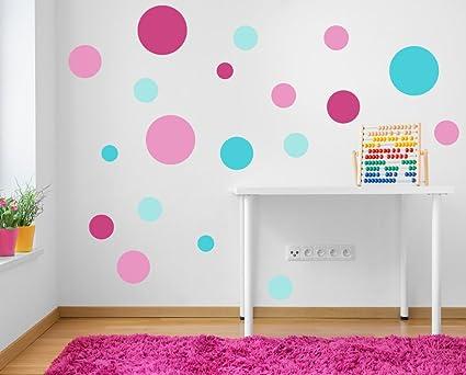 Pareti Cameretta A Pois : A pieni colori set di rosa e turchese puntini pois adesivo da