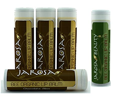 Organic Chocolate Bliss Beeswax Lip Balm by Jarosa 4 Pack 100 All Natural Deep Moisturizing USDA Certified Organic for Dry or Chapped Lips Balms with a Bonus Peppermint Lip Balm