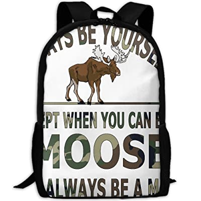 ZQBAAD Camouflage Always Be Yourself Moose Luxury Print Men And Women's Travel Knapsack