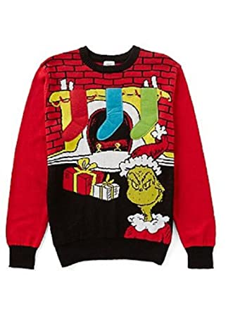 hybrid apparel mens dr seuss the grinch fireplace stuffable stockings ugly christmas sweater