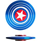 Bukit Cell 3-5 Min Captain American Shield BLUE Metal Fidget Spinner High Speed Durable Bearing Titanium Alloy Metal Hand Spinner EDC ADHD Focus Anxiety Stress Reliefspinner +BC stylus pen + BC cloth