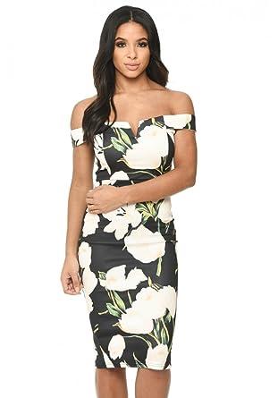 9dcb1dcbb2 AX Paris Women s Floral Print Bardot Dress at Amazon Women s ...