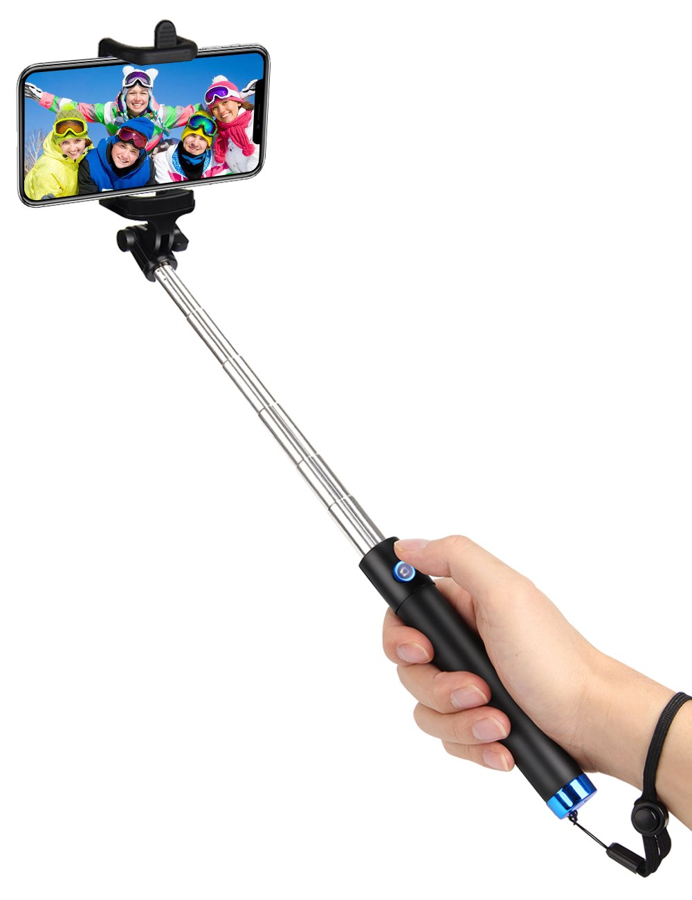 kungfuren Selfie Stick Bluetooth, 50-Hour Long Battery Life, Built-in Remote Camera Shutter Selfie Stick for iPhone 7 Plus All iOS and Android Smart Phones Blue KungfurenDirect ks36 Blue