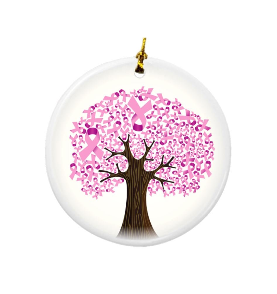 Rikki Knight Breast Cancer Ribbon Tree Design Round Porcelain Two-Sided Christmas Ornaments