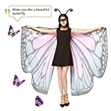 Halloween Butterfly Wings for Women, 3PCS Butterfly Shawl Party Costume Cloak with Mask and Headband
