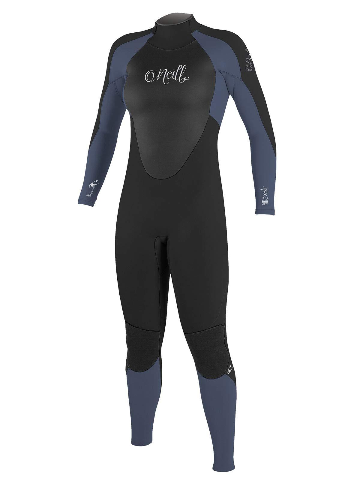 O'Neill Women's Epic 4/3mm Back Zip Full Wetsuit, Black/Mist/Oil, 4
