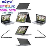 """iPearl mCover Hard Shell Case for 2016 13.3"""" Dell Inspiron 13 5368 / 5378 2-in-1 Convertible ( NOT compatible with other Dell Inspiron 5000 series models ) Laptop ( Black )"""