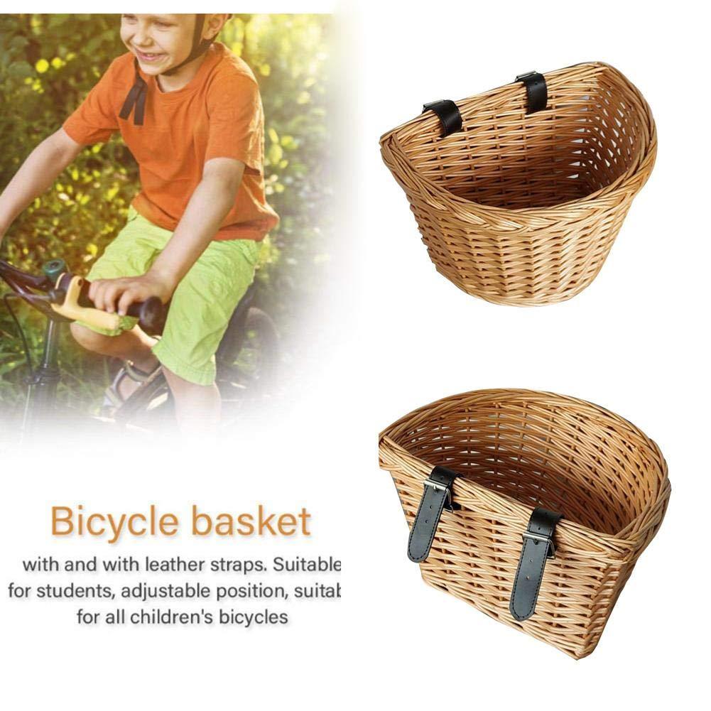 fervory Cestas De Bicicleta De Mimbre Delantero Cesta De Bicicleta Al Aire Libre Respetuoso del Medio Ambiente Tejida A Mano del Sauce Semic/írculo Cesta De La Bicicleta para Los Ni/ños