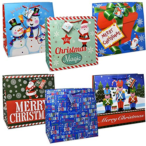 Gift Boutique Oversize Jumbo Christmas Gift Bags Giant Extra-Large Holiday Set of 12, 15 X 15 X 7 Big Paper Gift Wrap For Large Present with Coordinating Gift Tags