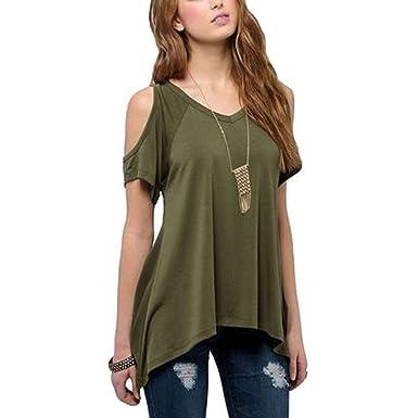 af82256d0bed46 JLTPH Damen T-Shirts Sommer Vogue Schulterfrei Kurzarm V-Ausschnitt  Unregelmäßige Sidetale Tunika Top