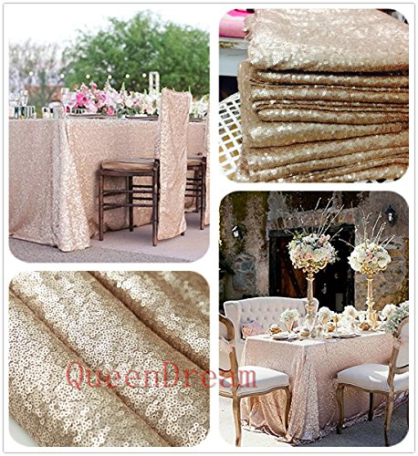QueenDream sequin tablecloth square 90''x90'' sequin tablecloth wedding sequin table cloth square champagne by QueenDream