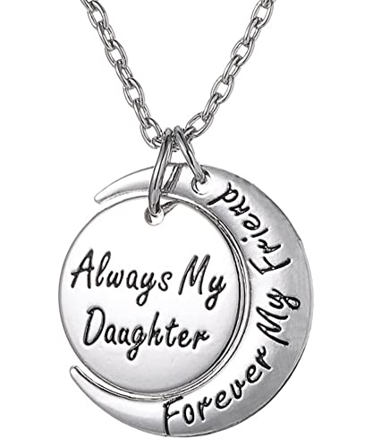216ba08362c Daughter Necklace   Always My Daughter Forever My Friend   Sentimental  Engraved Moon Pendant