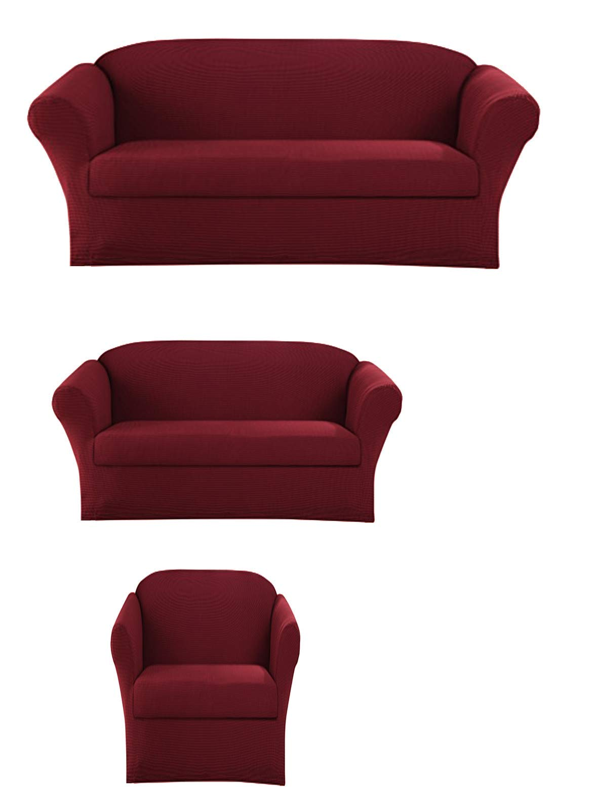 Sapphire Home 3-Piece SlipCover Set for Sofa Loveseat Couch & Arm Chair, Form fit Stretch & Wrinkle Free, Furniture Protector Cover Set for 3/2/1 Cushion, Polyester Spandex, 3pc Slipcover, Burgundy by Sapphire Home